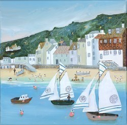 Ahoy by Lucy Young -  sized 12x12 inches. Available from Whitewall Galleries